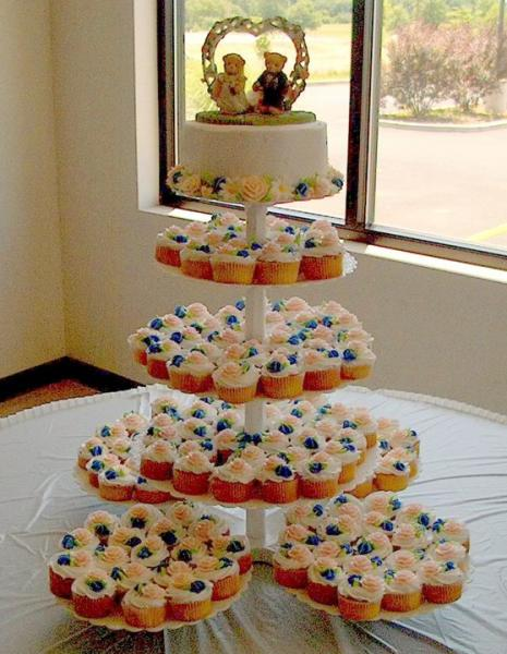 [Image: Colorful cupcake tree for wedding reception]
