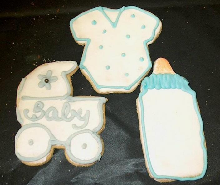 Darling, iced baby shower cookies]