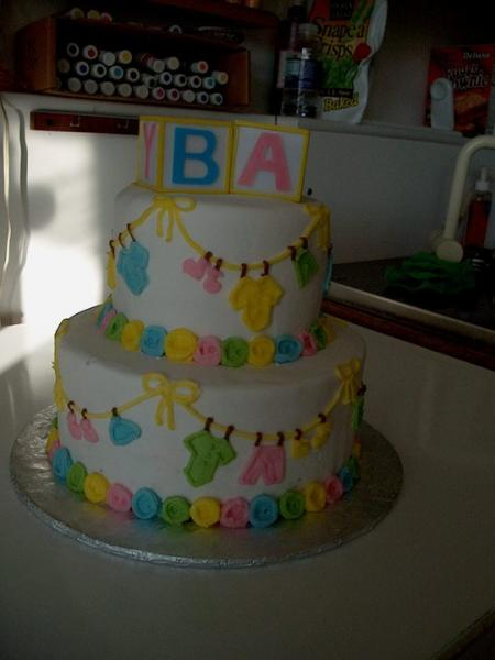 [Image: Colorful cake to celebrate the new baby]